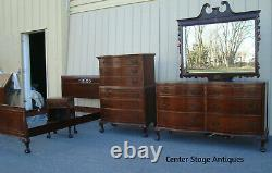 00001 Antique Bed Room Set Full Bed High chest Dresser with mirror nightstand