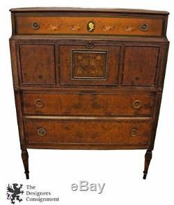 1905-1929 Berkey & Gay Mahogany Secretary Desk Antique Dresser Chest Vanity 46.5