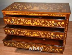 1910s Antique French inlaid dutch marquetry Mahogany Dresser chest commode