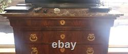198th Century Neoclassical Ormolu-Mounted Mahogany Chest Commode Marble top