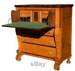 19th C Antique Birds Eye Maple Pennsylvania Butlers Desk / Chest Important