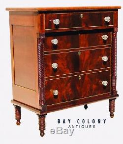 19th C Federal Period Rope Carved Mahogany & Cherry Antique Dresser / Tall Chest