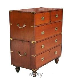 19th C. Mahogany English Campaign Chest in Two Parts