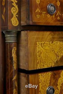 19th Century French Inlaid Mahogany 6 Drawer Inlaid Chest