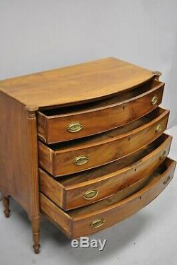 19th Century Sheraton 4 Drawer Mahogany Bow Front Bachelor Chest Dresser