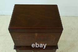 25712EC HENKEL HARRIS Queen Anne Inlaid Mahogany Fall Front Silver Chest