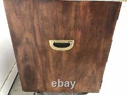 (2) Pair of Henredon Tansu Style Mahogany Campaign Chests Two Drawer Cape Cod