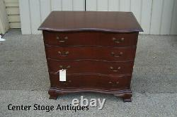 52564 MAHOGANY SERPENTINE FRONT 4 DRAWER BACHELOR CHEST NIGHTSTAND Table