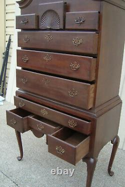 60741 Antique Mahogany 2 piece High Boy Dresser Chest