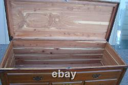 60862 Antique Mahogany Cedar Lined Queen Anne Blanket Chest with Drawer