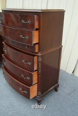 62254 Antique Mahogany High Chest + Dresser with Mirror