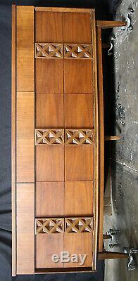 68 Vintage Antique MCM Bassett Mahogany SOLID Wood Wooden Triple Dresser Chest