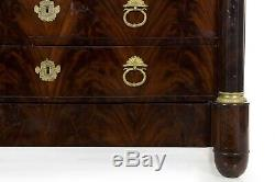 ANTIQUE DRESSER Commode Chest of Drawers French Mahogany, Bronze, Black Marble