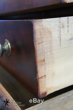 Antique 1850s American Empire Chest 4 Drawers Flamed Mahogany Dresser Backsplash