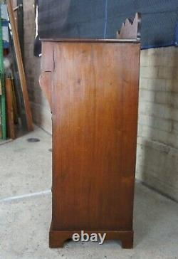 Antique 19th C. American Empire Flame Mahogany Tallboy Dresser Gentlemans Chest