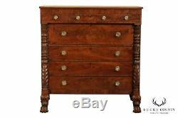 Antique 19th Century American Empire Mahogany Claw Foot Chest of Drawers