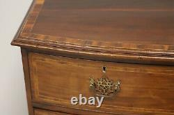 Antique 19th Century Hepplewhite Inlaid Banded Mahogany Bow Front Chest