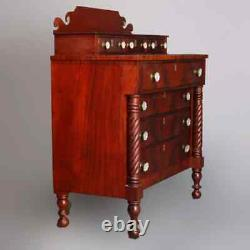 Antique American Empire Flame Mahogany Chest of Drawers, circa 1840