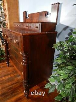 Antique American Empire Flame Mahogany Veneer 8 Drawer Chest Dresser circa 1840