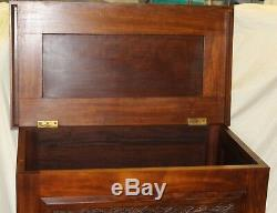 Antique Carved Mahogany Blanket Chest