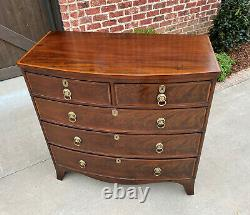 Antique English Chest of Drawers Bow Front Mahogany 5-Drawer Commode 19th C