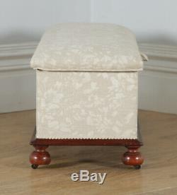 Antique English Victorian Mahogany Upholstered Ottoman Chest / Trunk / Box Stool