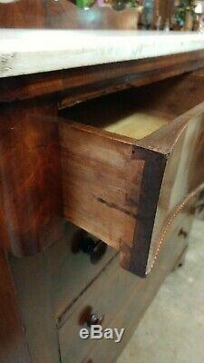 Antique Flame Mahogany Tall Dresser Chest withMarble top WOW