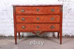 Antique French Louis XV Style Inlaid Parquetry Mahogany Marble Top Chest of Draw