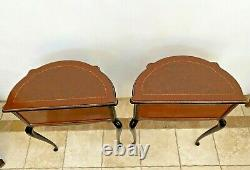Antique French Matching Bedside Chests Night Stands Mahogany Side Tables petite