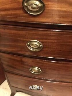 Antique George III (Circa 1760-1830) Inlaid Mahogany Bowfront Chest Of Drawers