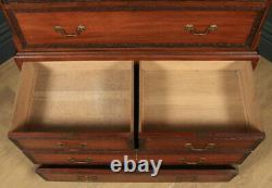 Antique Georgian Chippendale Style Mahogany Chest on Chest With Linen Cupboard