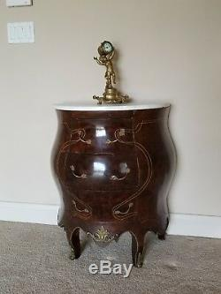 Antique Louis XV Style French Commode Bombe Chest Marble White Top Nightstand