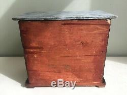 Antique Mahogany Apprentice Chest of Drawers Grey Marble Top Small 24x14cm b16