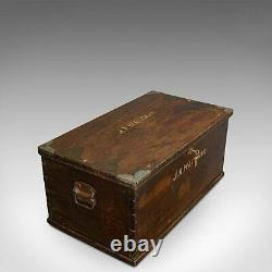 Antique Officer's Chest, English, Mahogany, Travelling Trunk, 19th Century