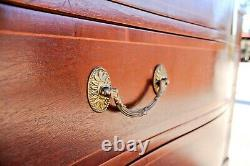 Antique Serpentine Kindel Furniture Mahogany Inlaid Banded Chest Of Drawers