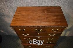 Antique Spectacular Carved Mahogany Five Drawer Tall Chest
