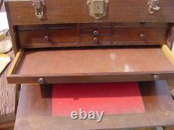 Antique Starrett Brand Mahogany Wood Machinist Tool Box Chest Made by Gerstner