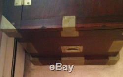 Antique Storage/travel Chest- 1893 Brass And Mahogany Amazing Interior