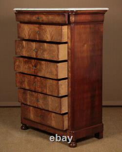 Antique Tall French Marble Top Mahogany Chest of Drawers c. 1840
