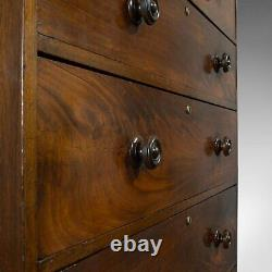 Antique Tallboy, English, Flame Mahogany, Tall Chest of Drawers, Victorian, 1850