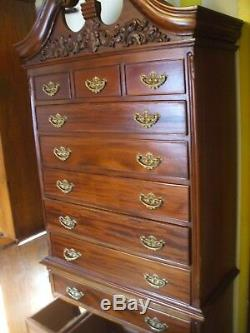 Antique VTG Mahogany Chippendale Highboy Chest Queen Anne Brass Dresser Vanity