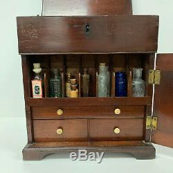 Antique Victorian Mahogany Apothecary Cabinet / Medicine Chest COMPLETE Doctors