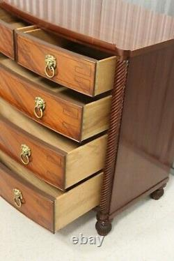 Baker English Mahogany Regency Style Bow Front Chest Of Drawers