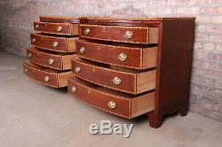 Baker Furniture Georgian Banded Mahogany Bachelor Chests or Large Nightstands