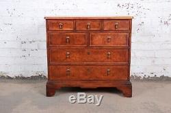 Baker Furniture Milling Road Georgian Burled Walnut Seven-Drawer Dresser Chests