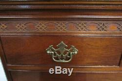 Baker Mahogany Chippendale Chest On Chest, Eight Drawer High Dresser