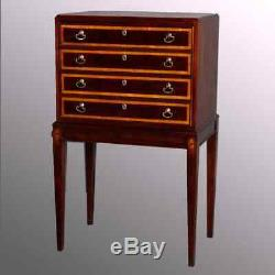 Baker School Satinwood Banded Mahogany 4-Drawer Silver Chest, 20th Century
