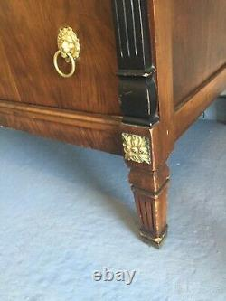 Burled Mahogany Wood Chest of Drawers