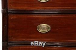 CHEST OF DRAWERS Antique English Georgian Inlaid Mahogany Serpentine Dresser