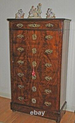 CROTCH MAHOGANY MARBLE TOP FAUX CHEST CABINET. Wood/drying cracks and abrasion